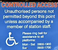 Thirsk Station accessibility notice Mon to Sat 06.00 to 19.00 sun 09.00 to 17.00